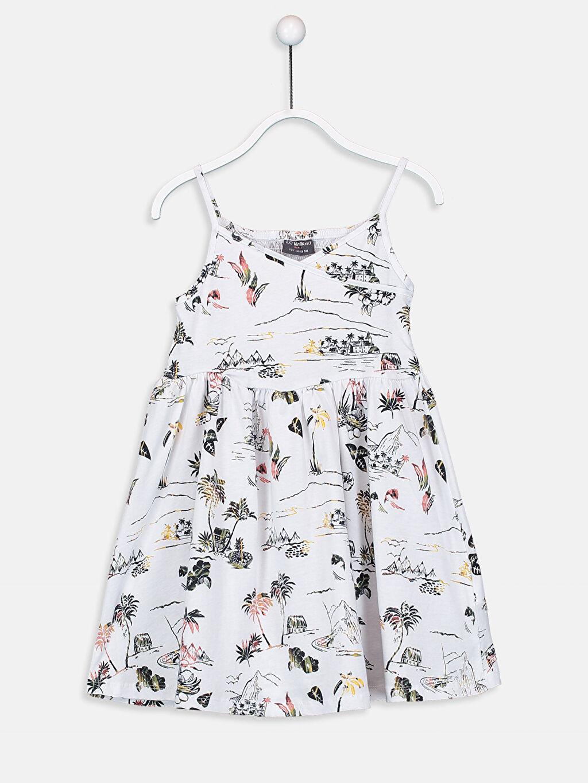 Beyaz Kız Çocuk Baskılı Pamuklu Elbise 9SQ324Z4 LC Waikiki
