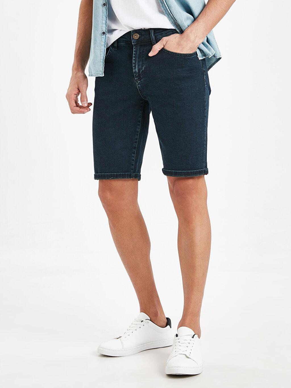 %99 Pamuk %1 Elastan Jean Şort Skinny Skinny Fit Bermuda Jean Şort