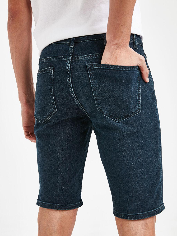 %99 Pamuk %1 Elastan Skinny Fit Bermuda Jean Şort