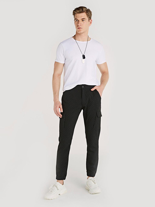 Siyah Slim Fit Çizgili Poliviskon Jogger Pantolon 9ST205Z8 LC Waikiki