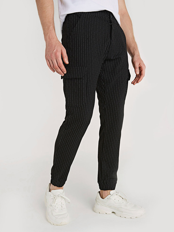 %65 Polyester %3 Elastan %32 Viskon Normal Bel Dar Pilesiz Pantolon Slim Fit Çizgili Poliviskon Jogger Pantolon