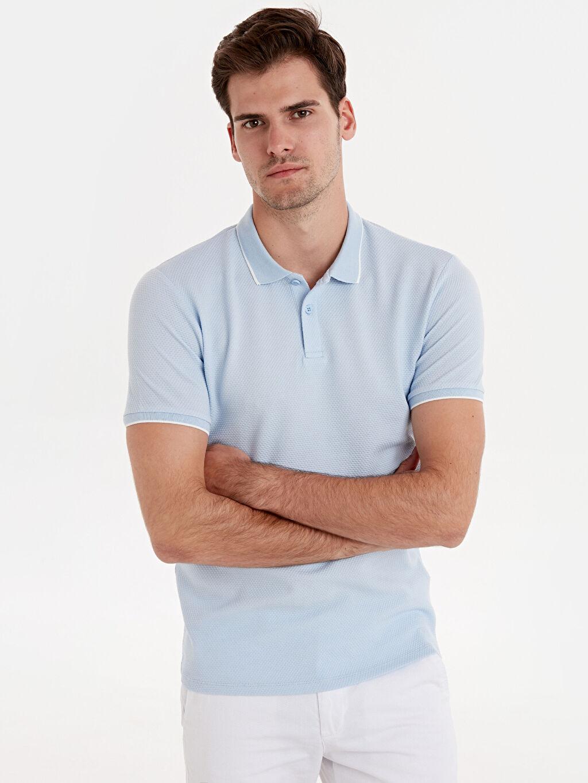 %78 Pamuk %20 Polyester %2 Elastan Dar Kısa Kol Tişört Polo Düz Slim Fit Polo Yaka Kısa Kollu Jakarlı Tişört