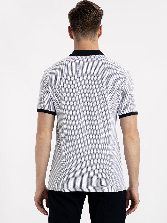 %77 Pamuk %20 Polyester %3 Elastan Dar Kısa Kol Tişört Polo Düz Slim Fit Polo Yaka Kısa Kollu Jakarlı Tişört
