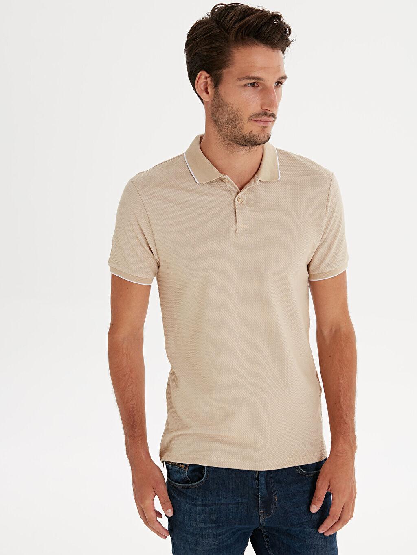 %78 Pamuk %20 Polyester %2 Elastan Düz Dar Tişört Polo Yaka Kısa Kol Slim Fit Polo Yaka Kısa Kollu Jakarlı Tişört