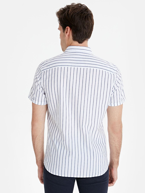 %100 Pamuk Gömlek Düğmeli Gömlek Yaka Çizgili Dar Patlı Kısa Kol Slim Fit Çizgili Kısa Kollu Poplin Gömlek
