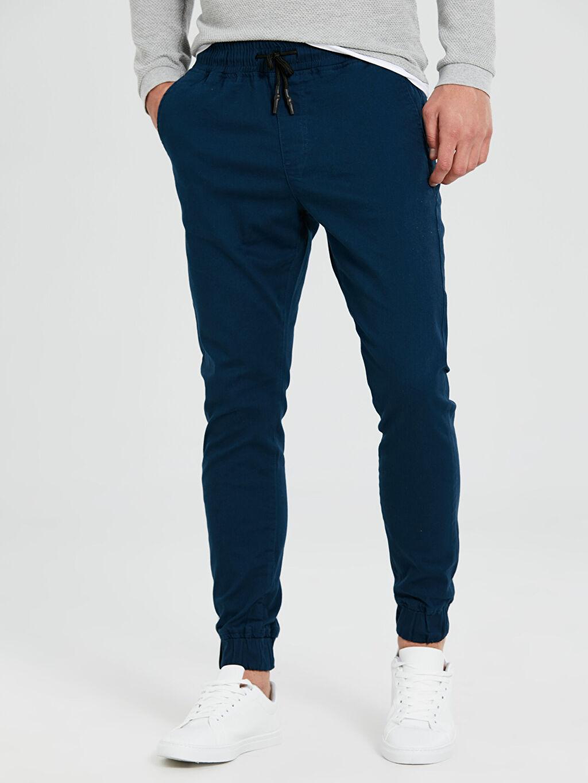 %98 Pamuk %2 Elastan Normal Bel Dar Pilesiz Pantolon Slim Fit Gabardin Bilek Boy Pantolon