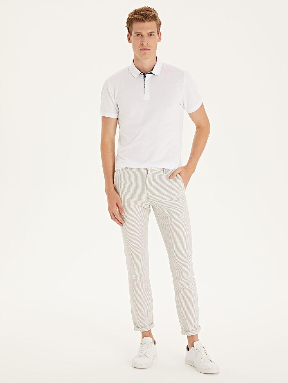 Beyaz Slim Fit Çizgili Bilek Boy Pantolon 9SA491Z8 LC Waikiki