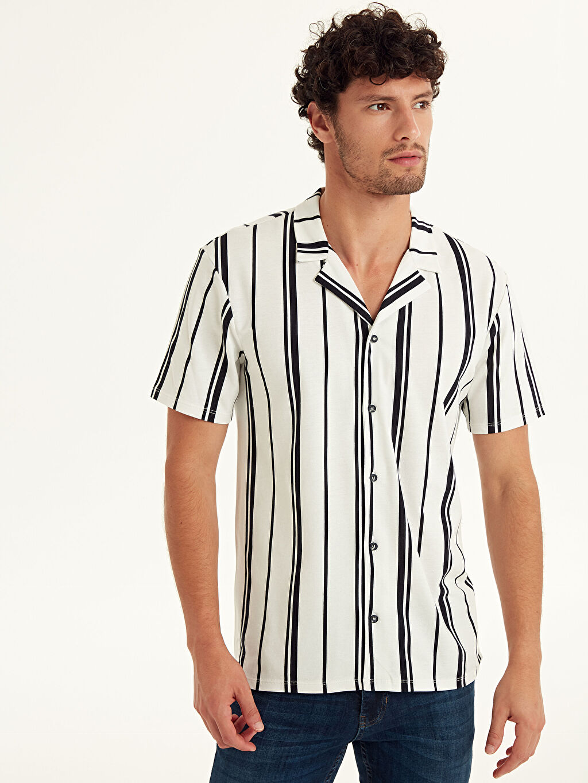 %100 Pamuk Gömlek Yaka Dar Tişört Pike Kısa Kol Çizgili Slim Fit Çizgili Kısa Kollu Pike Gömlek