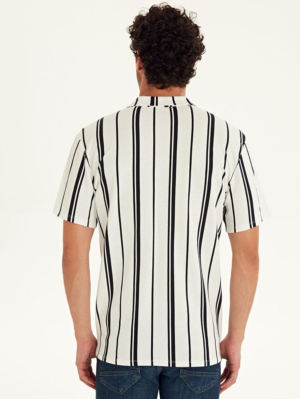 Erkek Slim Fit Çizgili Kısa Kollu Pike Gömlek