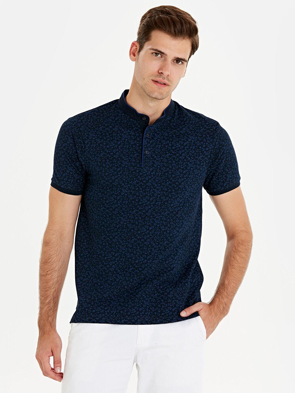 %100 Pamuk Baskılı Kısa Kol Tişört Diğer Dar Slim Fit Hakim Yaka Çiçek Baskılı Tişört