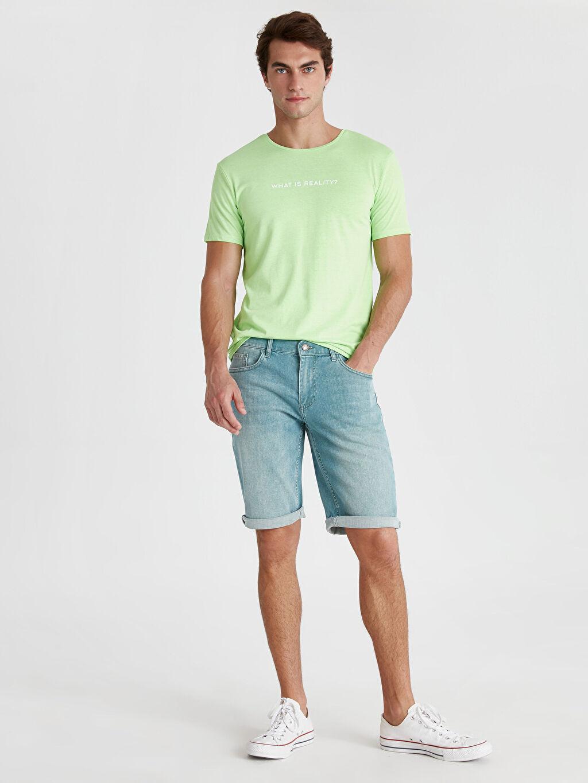 Yeşil Regular Fit Bermuda Jean Şort 9SB897Z8 LC Waikiki