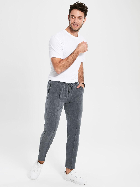 %78 Polyester %17 Viskoz %5 Elastan Pilesiz Dar Normal Bel Pantolon Slim Fit Bilek Boy Poliviskon Pantolon