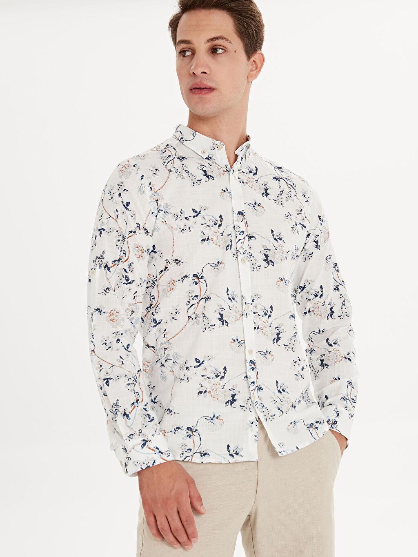 %100 Pamuk Düğmeli Gömlek Yaka Baskılı Dar Patlı Uzun Kol Gömlek Slim Fit Desenli Uzun Kollu Poplin Gömlek