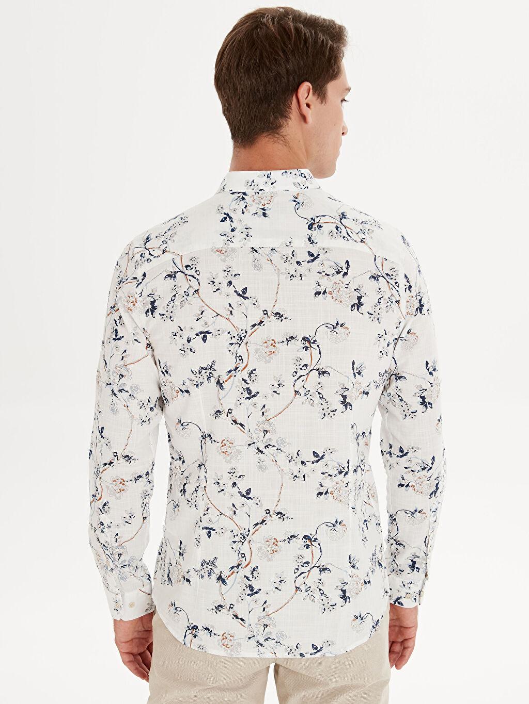 %100 Pamuk Slim Fit Desenli Uzun Kollu Poplin Gömlek