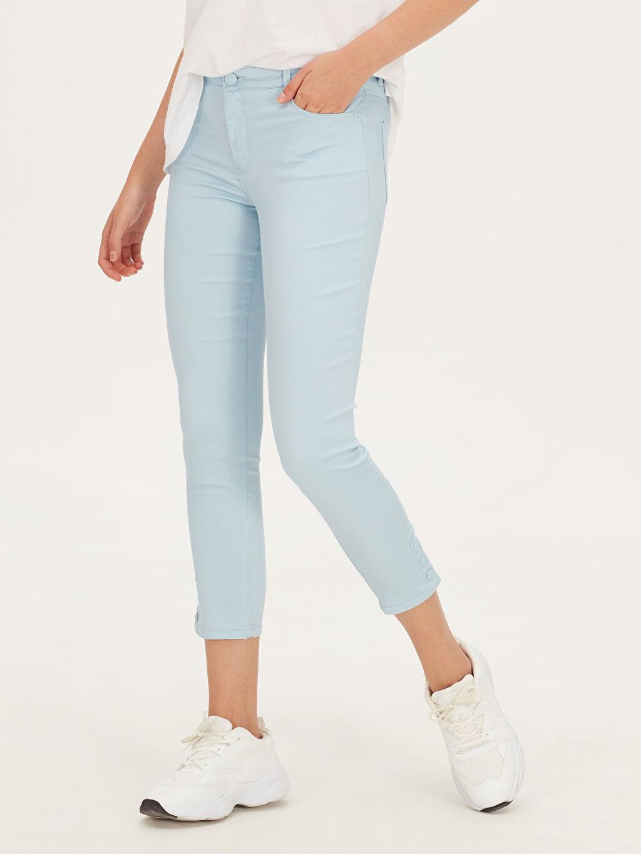 %67 Pamuk %29 Polyester %4 Elastan Düz Normal Bel Skinny Pantolon Skinny Pantolon