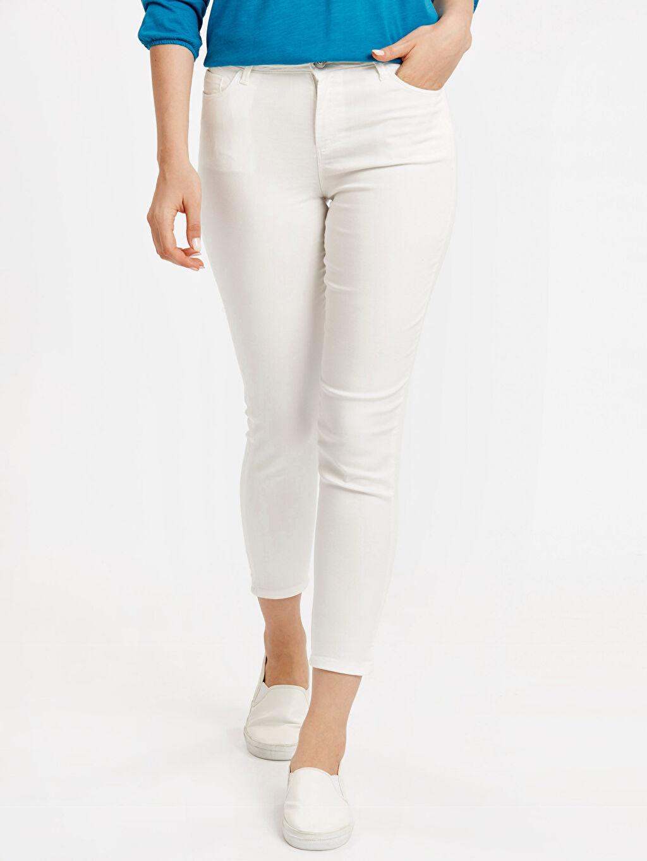 %67 Pamuk %29 Poliester %4 Elastan Yüksek Bel Esnek Dar Kısa Paça Pantolon Skinny Pantolon