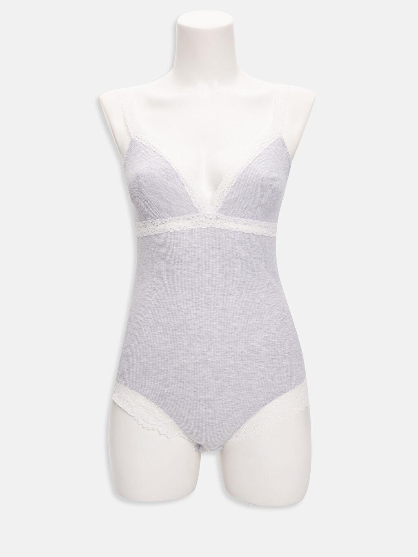 %49 Pamuk %49 Polyester %2 Elastan Ribana Çıtçıtlı Body Dantel Detaylı Bodysuit
