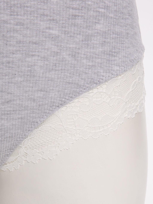 %49 Pamuk %49 Polyester %2 Elastan Dantel Detaylı Bodysuit