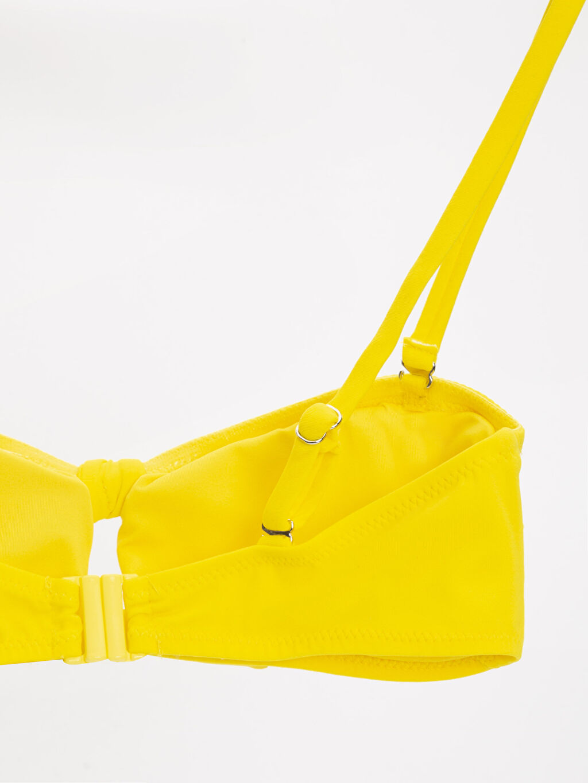 %81 Poliamid %19 Elastan  %86 Poliester %14 Elastan Balkon Sütyen Bikini Üst Dolgusuz Düz Önü Bağlama Detaylı Bandeau Bikini Üst