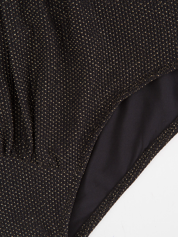 %76 Poliamid %12 Metalik elyaf %12 Elastan Yüksek Bel Işıltılı Bikini Alt