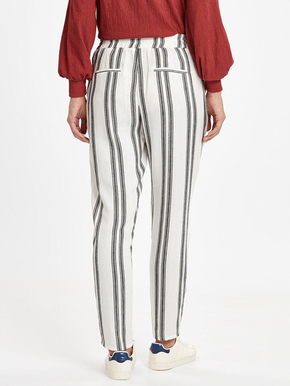 Kadın Çizgili Viskon Havuç Pantolon