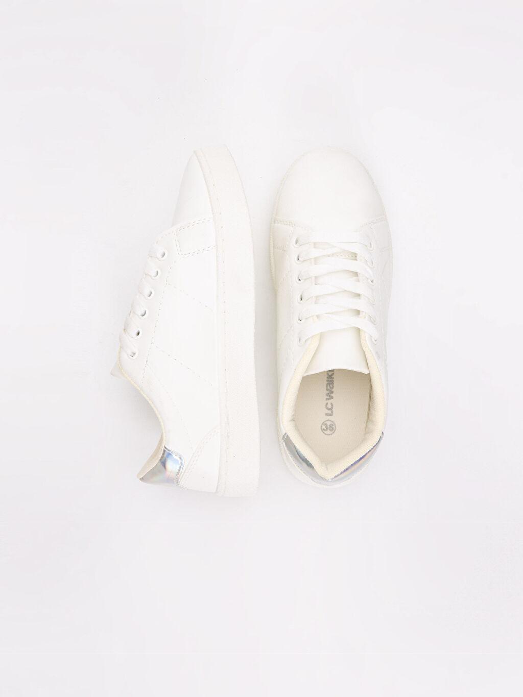Diğer malzeme (poliüretan) Tekstil malzemeleri Sneaker Yuvarlak Burun 2 cm Konforlu İç Taban Kadın Bağcıklı Spor Ayakkabı