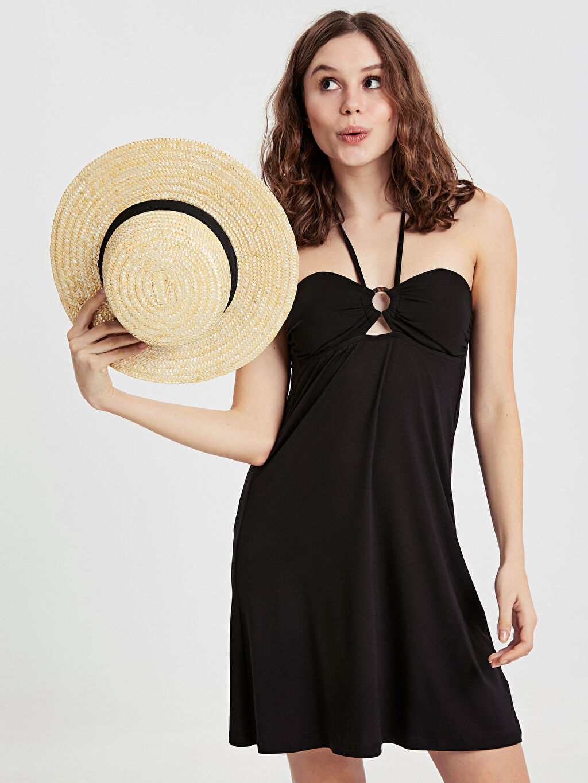 Siyah Boyundan Bağlamalı Deniz Elbisesi 9S6147Z8 LC Waikiki