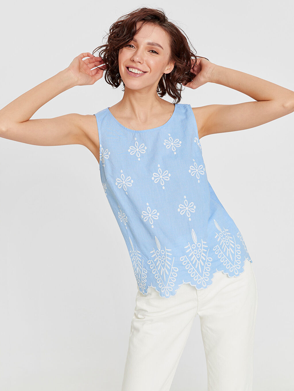 Mavi Nakışlı Pamuklu Kolsuz Bluz 9S7413Z8 LC Waikiki