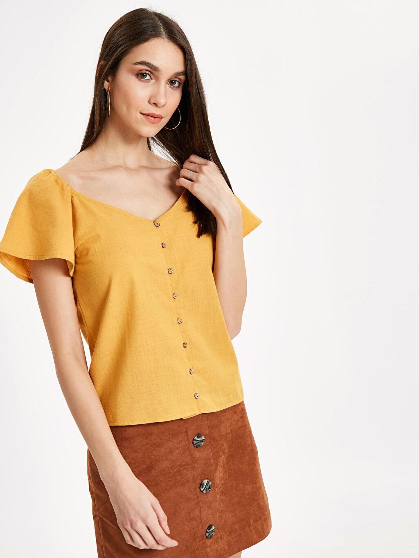 Sarı Kolları Volanlı Poplin Bluz 9S8659Z8 LC Waikiki