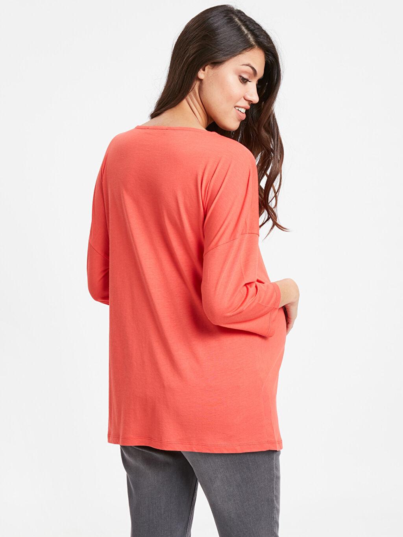 %53 Pamuk %47 Modal Tişört Günlük V Yaka Uzun Kol Düz A Kesim Yaka Detaylı Salaş Hamile Tişört