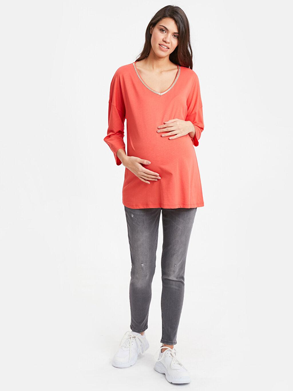 Kadın Yaka Detaylı Salaş Hamile Tişört