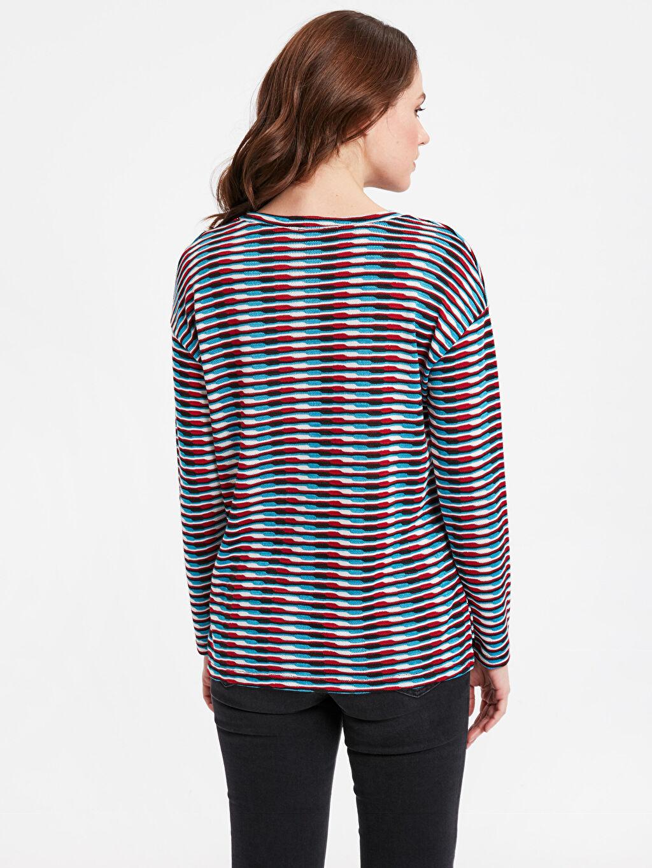 %74 Polyester %26 Viskoz Uzun Kol Tişört Bisiklet Yaka Standart Desenli Tişört