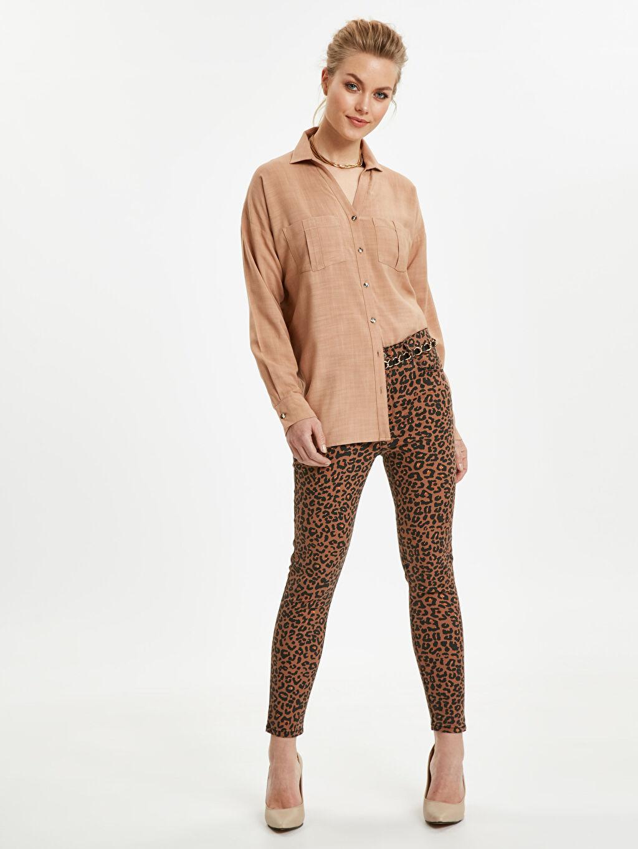 Kahverengi Desenli Skinny Pantolon 9S9650Z8 LC Waikiki