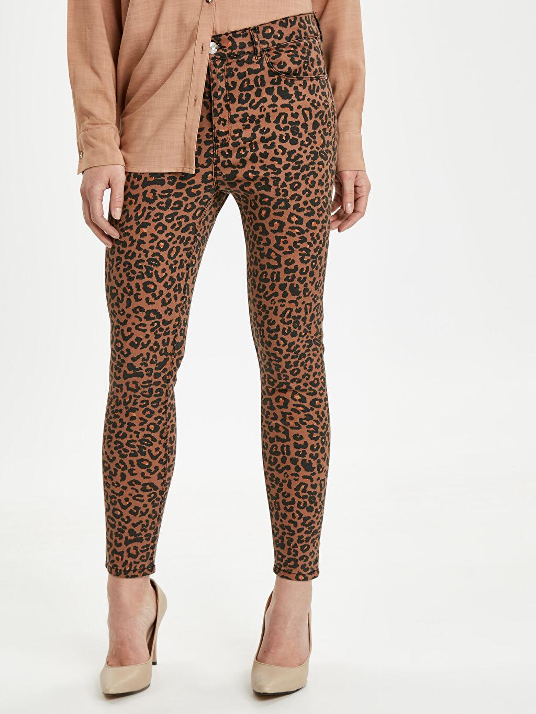 %65 Pamuk %30 Polyester %5 Elastan Baskılı Normal Bel Skinny Pantolon Dar Paça Gabardin Desenli Skinny Pantolon