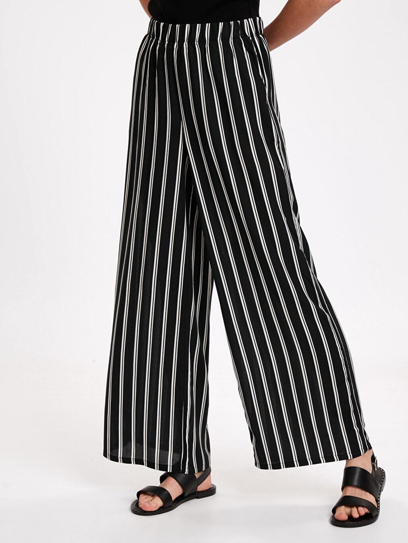%100 Viskoz Normal Bel Standart Geniş Paça Lastikli Bel Pantolon Desenli Viskon Palazzo Pantolon