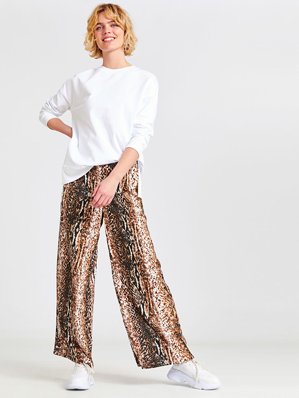 %100 Viskoz Standart Baskılı Normal Bel Pantolon Geniş Paça Desenli Viskon Palazzo Pantolon