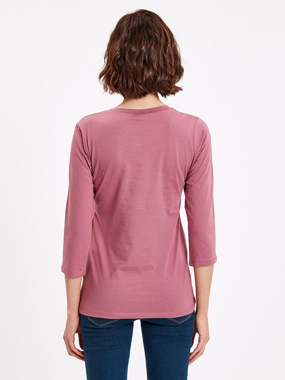 %100 Pamuk Düz Standart Tişört Uzun Kol Yakası Düğmeli Pamuklu Tişört