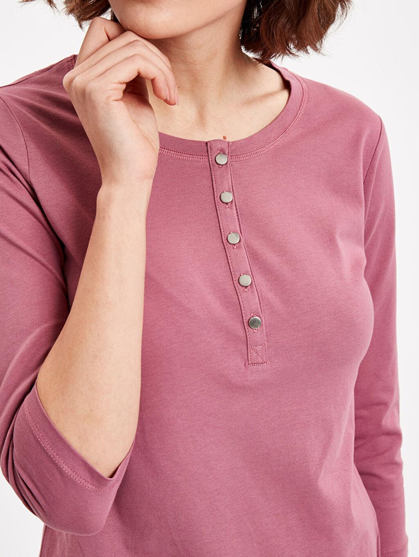 %100 Pamuk Yakası Düğmeli Pamuklu Tişört