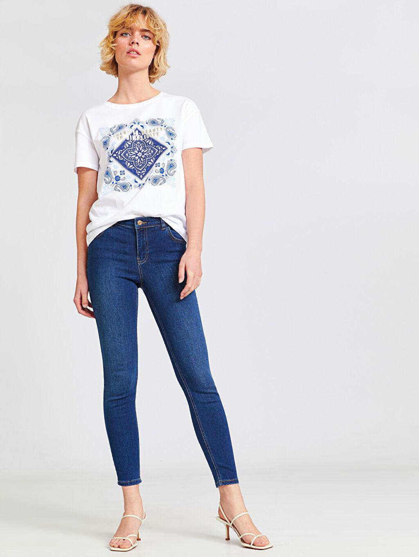 %81 Pamuk %17 Polyester %2 Elastan Standart Normal Bel Dar Jean Bilek Boy Push Up Jean Pantolon