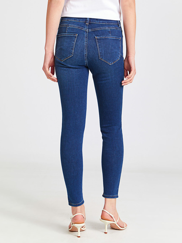 %81 Pamuk %17 Polyester %2 Elastan Bilek Boy Push Up Jean Pantolon