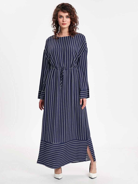 Lacivert Beli Büzgülü Çizgili Uzun Viskon Elbise 9SG838Z8 LC Waikiki