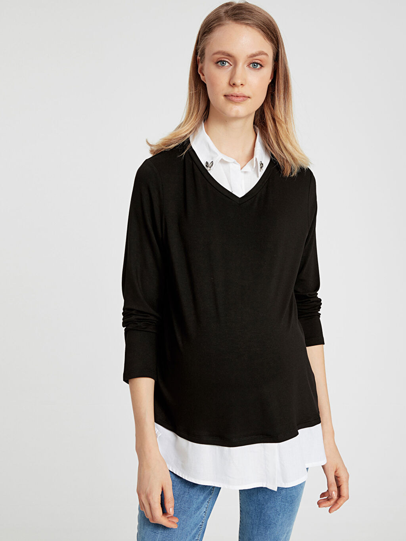 %97 Viskon %3 Elastan Tişört, Body ve Atlet Yaka Detaylı Hamile Tişört