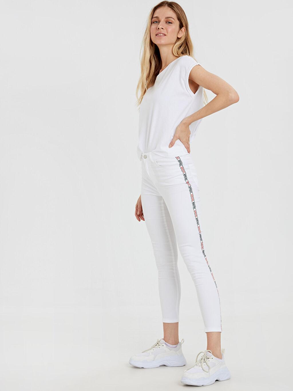 Beyaz Slogan Şerit Detaylı Bilek Boy Skinny Pantolon 9SI449Z8 LC Waikiki
