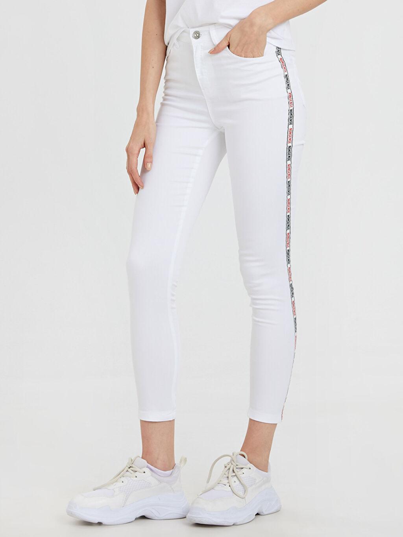 %67 Pamuk %30 Polyester %3 Elastan Düz Dar Paça Standart Normal Bel Uzun Beş Cep Pantolon Slogan Şerit Detaylı Bilek Boy Skinny Pantolon
