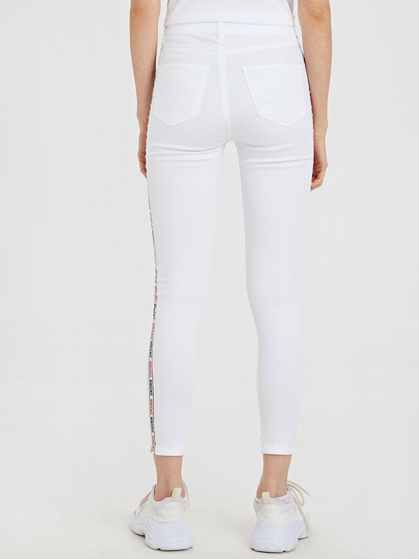 Kadın Slogan Şerit Detaylı Bilek Boy Skinny Pantolon