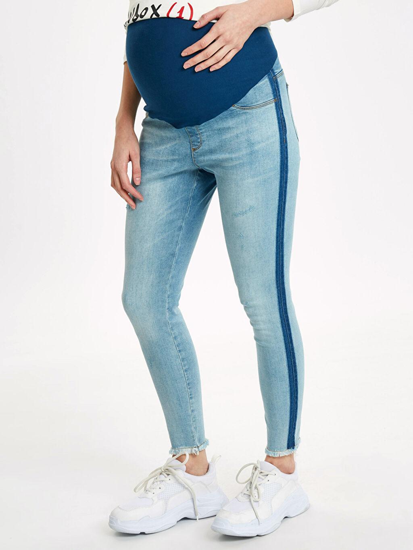%98 Pamuk %2 Elastan Jean Şerit Detaylı Skinny Hamile Pantolon