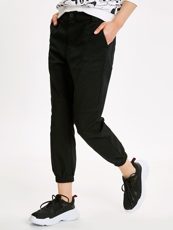 %98 Pamuk %2 Elastan Pantolon Normal Bel Standart Gabardin Jogger Pantolon