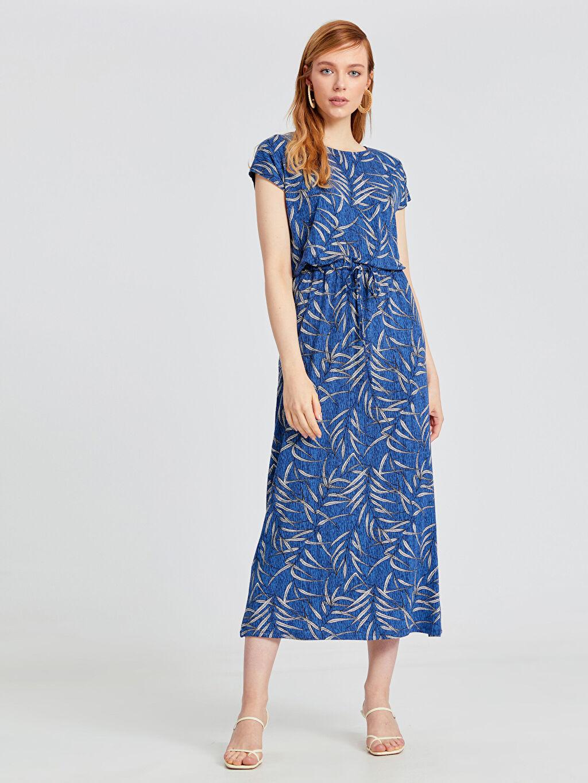 %97 Viskon %3 Elastan Uzun Baskılı Kısa Kol Ofis/Klasik Desenli Uzun Viskon Elbise