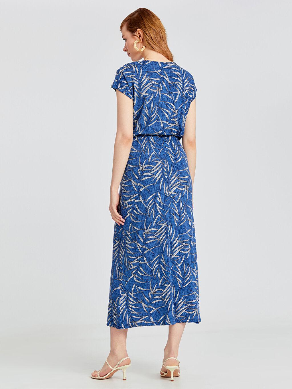 Kadın Desenli Uzun Viskon Elbise