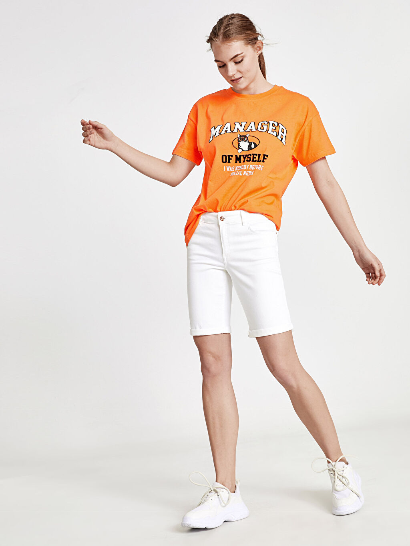 %97 Pamuk %3 Elastane Jean Şort Mini Normal Bel Skinny Jean Şort